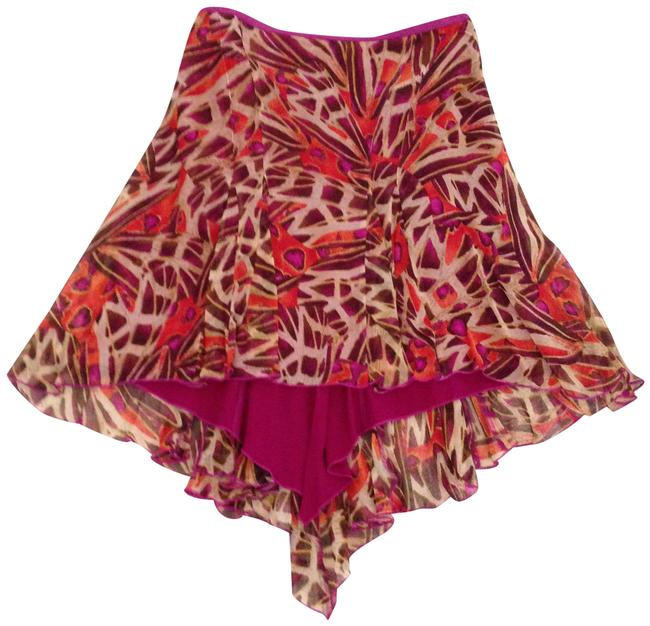 Item - Red/ Brown/ Beige Print Mauritius High- Low Skirt Size 2 (XS, 26)