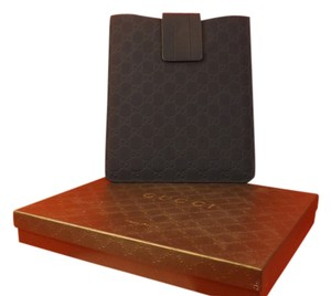 Gucci NAVY MICROGUCCISSIMA RUBERIZED LEATHER SOHO FOR 1,2,3 IPAD CASE