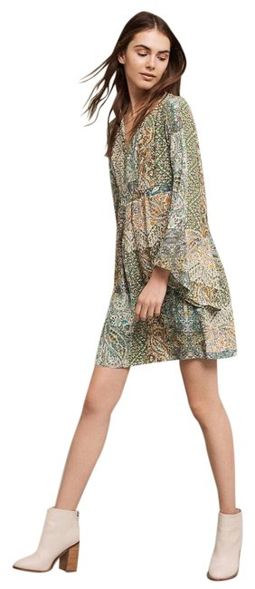 Item - Green Multi Floreat Silk Bell Sleeve Babydoll Short Casual Dress Size 6 (S)