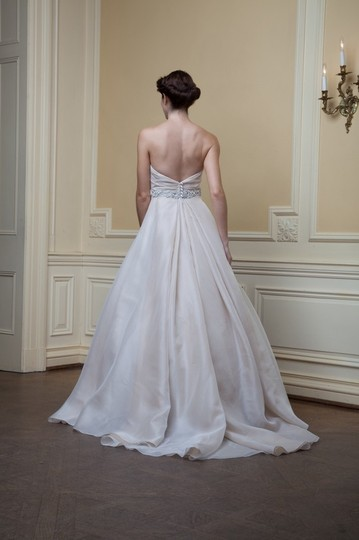 Lea-Ann Belter Off White/Mocha Silk Organza/Silk Dupioni Eloise Traditional Wedding Dress Size 8 (M)
