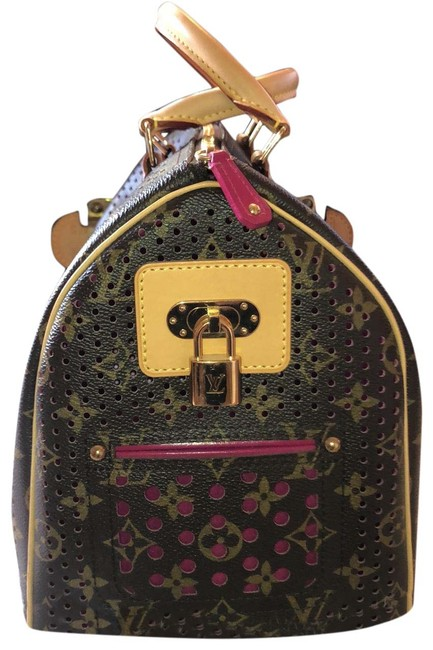 Item - Speedy Monogram Perforated 30 Brown Tan and Fuchsia Leather Baguette