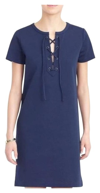 Item - Navy Knit Mid-length Short Casual Dress Size 8 (M)