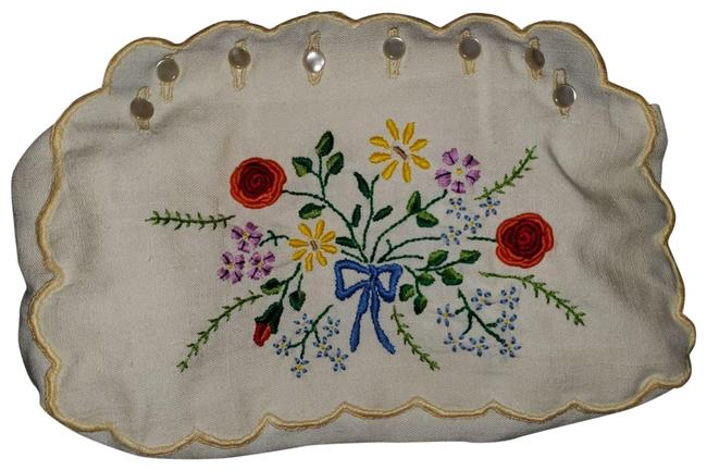 Item - Clutch W Handmade Embroidered W/ Two Styles White/Beige/Blue Linen/Wood Hobo Bag