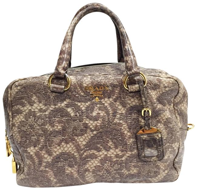 Item - Bauletto Lux Talco Lace Print Cervo Grey Leather Satchel