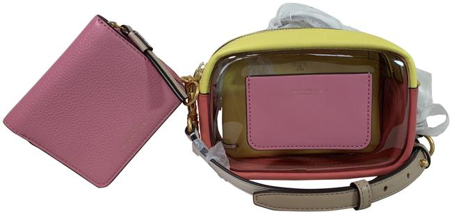 Item - Perry Color Block Mini Pink/Yellow Leather Cross Body Bag