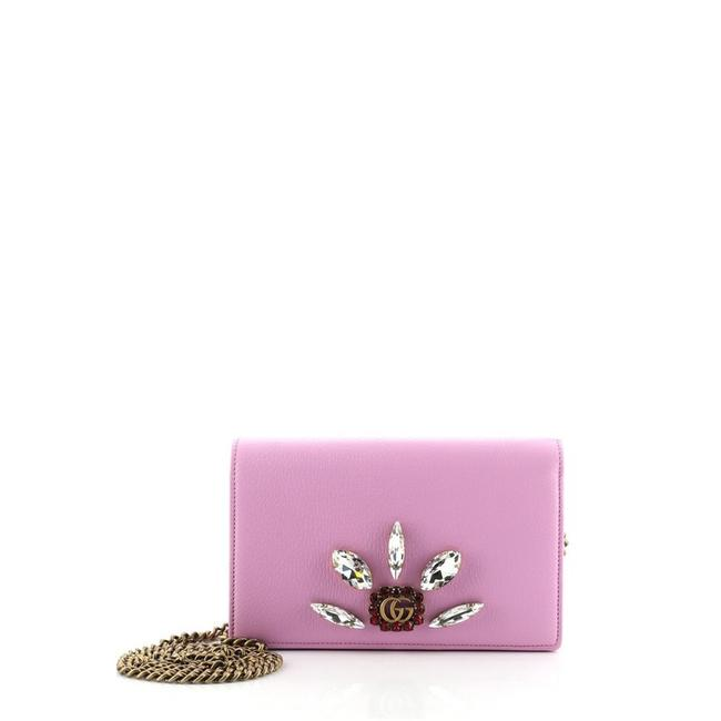 Item - Purple Chain Marmont Gg Embellished Leather Mini Wallet