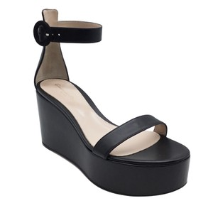 Item - Black Leather Wedge Sandals