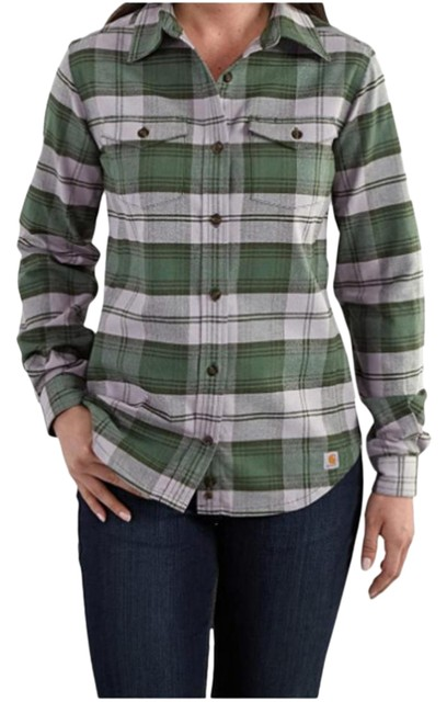 Item - Green/Purple Plaid Flannel Button-up Button-down Top Size 6 (S)