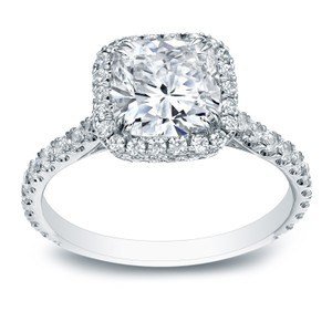18k White Gold 2ct Tdw Cushion Certified Diamond Engagement Ring (h-i Vs1-vs2)