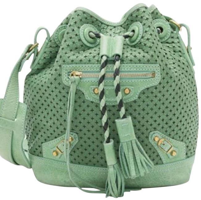 Item - Bucket Small Pampille Perforated Handbag Mint Green Lambskin Leather Shoulder Bag