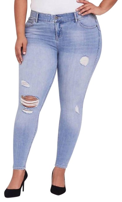 Item - Blue Distressed Bombshell High-rise Skinny Jeans Size 24 (Plus 2x)