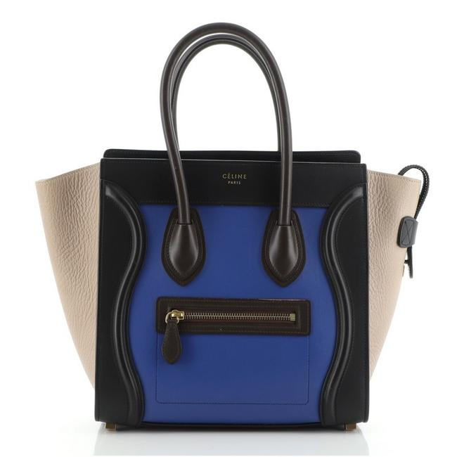 Item - Luggage Tricolor Micro Black Blue Multicolor Leather Weekend/Travel Bag