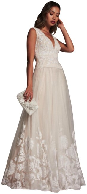 Item - Cream Jaslyn Tuelle Lace Bridal Gown Long Formal Dress Size 0 (XS)