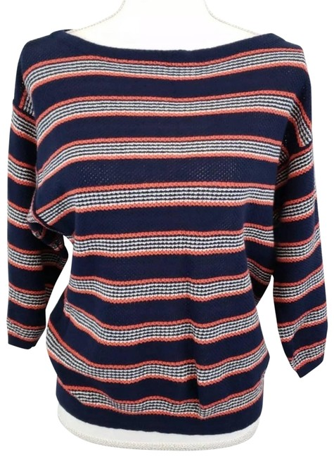 Item - Striped Boat Neck Sweater 3/4 Sleeves Cardigan Size 4 (S)