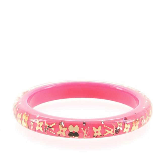 Item - Pink Inclusion Bangle Resin with Crystals Pm Bracelet