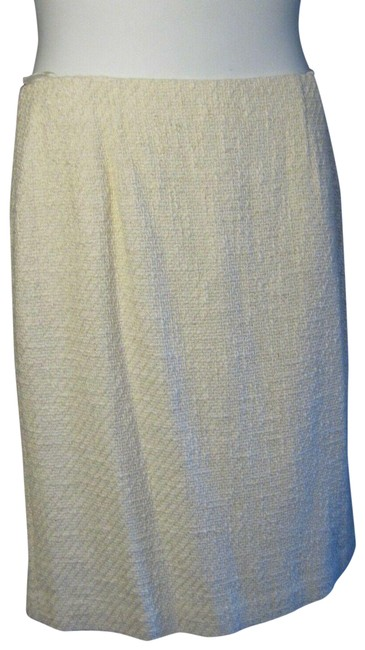Item - White Winter Tweed Straight Skirt Size 14 (L, 34)