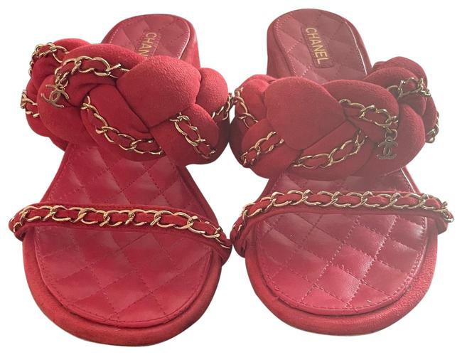 Item - Red 17p Suede Braided Mules/Slides Size EU 39 (Approx. US 9) Regular (M, B)
