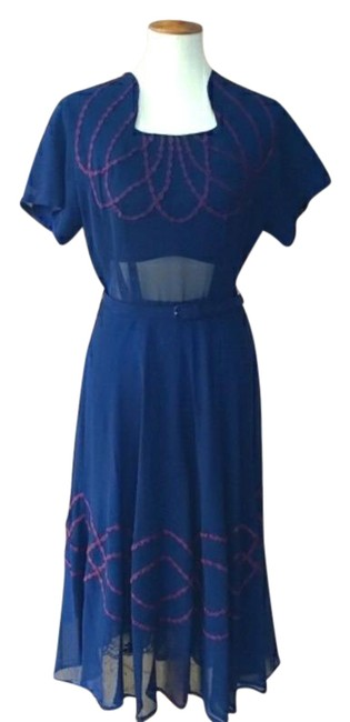 Item - Blue & Burgundy 1940's Sheer Aline Mid-length Night Out Dress Size 10 (M)