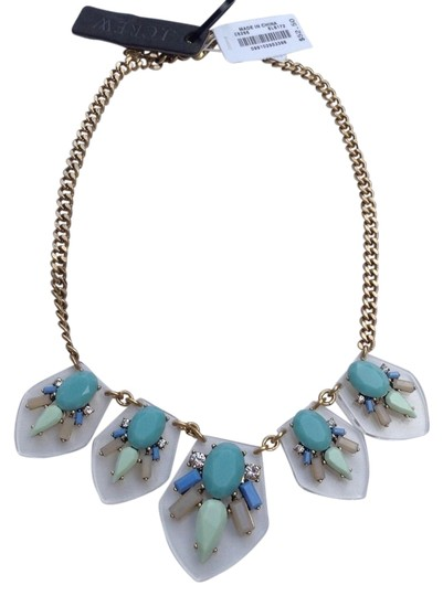 J.Crew Multi Color Lucite Jeweled Statement Necklace w/pouch