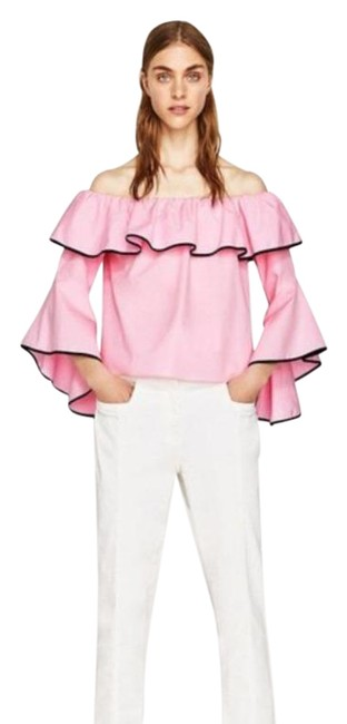 Item - Pink Black Off Shoulder with Angled Bell Sleeves Blouse Size 8 (M)