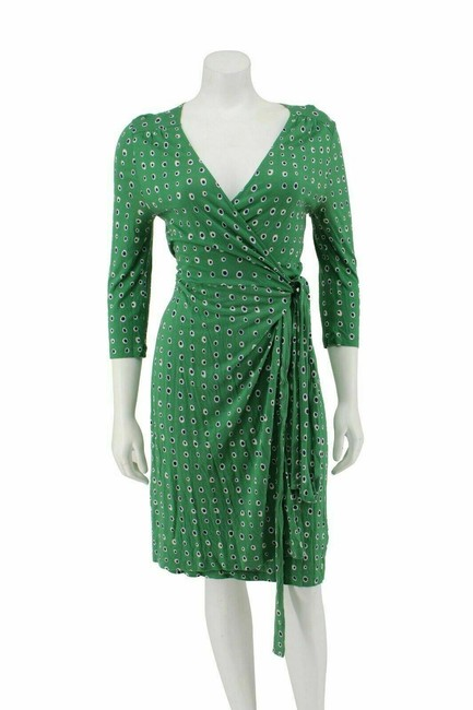 Item - Green Jersey And Blue Polka Dot Print Knit Wrap Short Casual Dress Size Petite 4 (S)
