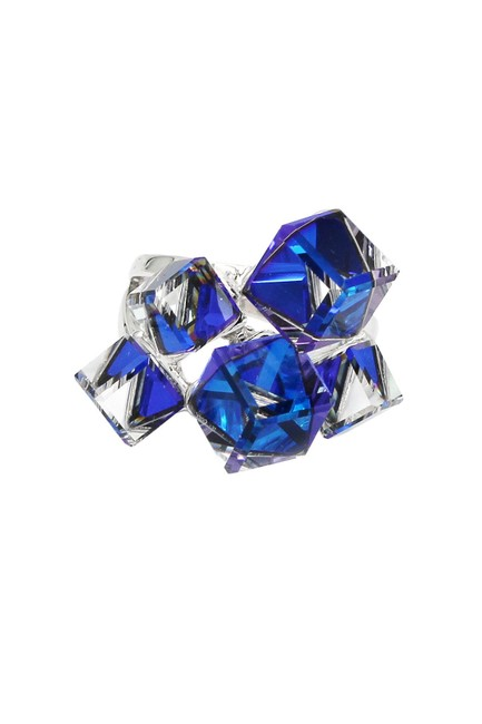 Item - Blue Candy Square Crystal Silver Ring