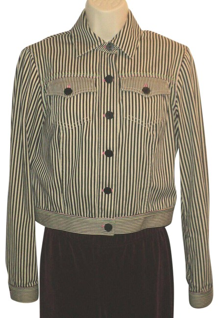 Item - Black & Gray-cream Striped Front Buttoned Pink Green Accent Stitching Jacket Size 2 (XS)