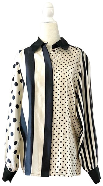 Item - Vintage Silk Blouse Collared Shirt Button-down Top Size 10 (M)