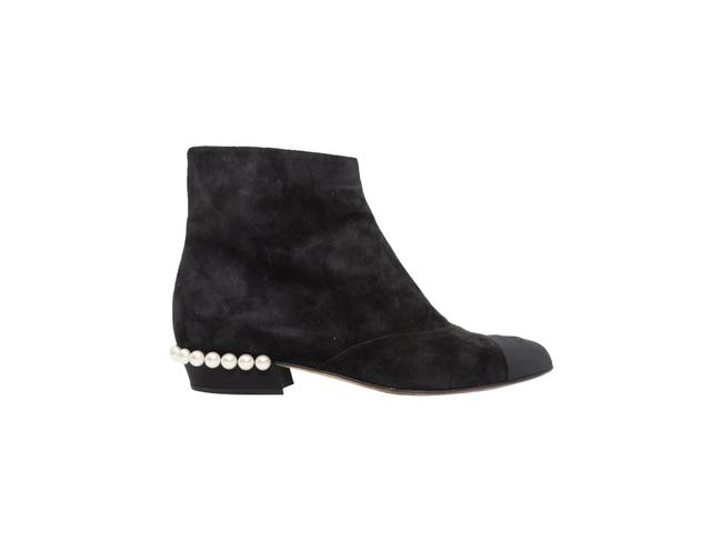 Item - Black Suede Faux Pearl Ankle Boots/Booties Size EU 38.5 (Approx. US 8.5) Regular (M, B)