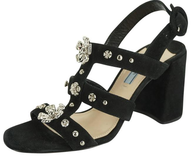 Item - Black Suede Silver Flower Studs Caged Strappy Sandals Size EU 38 (Approx. US 8) Regular (M, B)