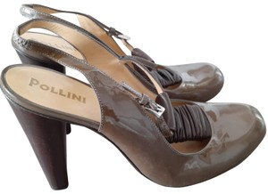 Pollini Brown Patent Leather Formal