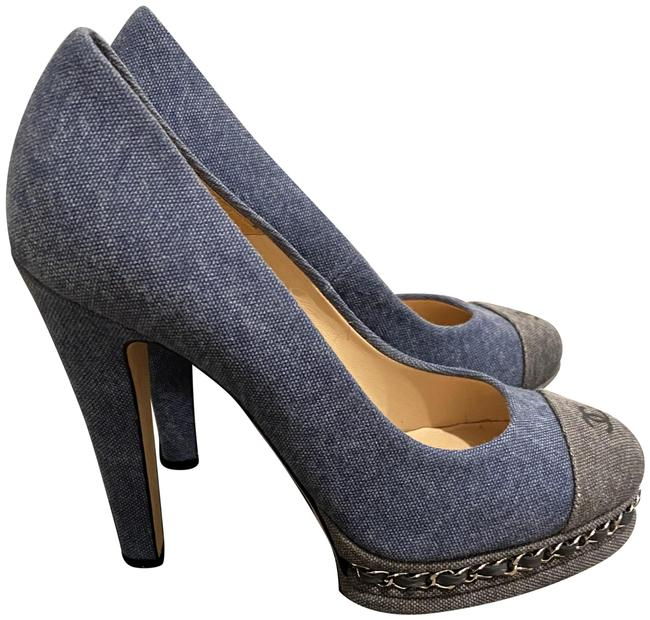 Item - Denim Chain Cap Toe Pumps Size EU 38 (Approx. US 8) Regular (M, B)