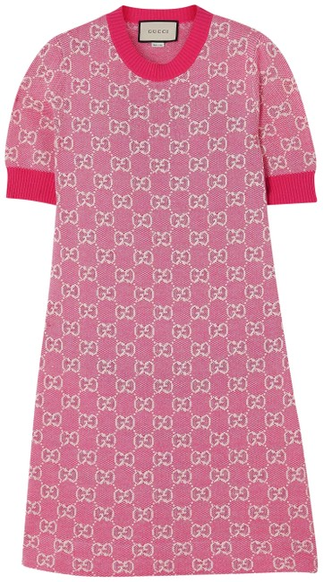 Item - Pink Gg Supreme Intarsia Wool and Cotton-blend Short Casual Dress Size 4 (S)