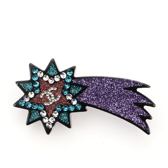 Item - Multi Color Black Shooting Star Glitter Resin and Metal Brooch