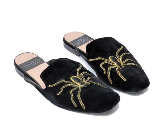 Item - Black Velvet Flats Smoking Slippers Mules/Slides Size EU 36 (Approx. US 6) Regular (M, B)