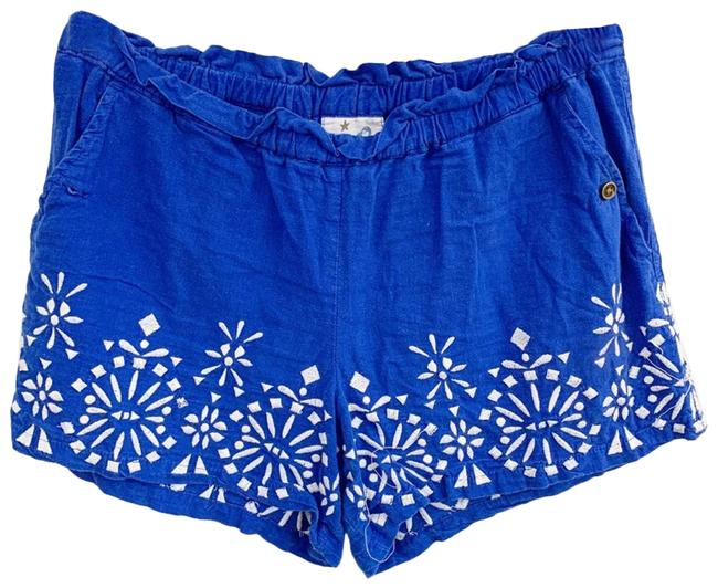 Item - Blue Mermaid Tag Linen Blend Embroidered Boho Shorts Size 0 (XS, 25)