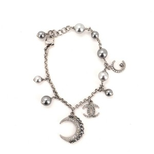 Chanel Moon Bracelet Metal Crystal and Faux Pearls