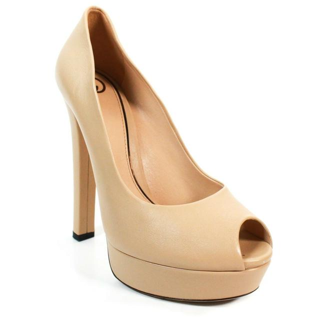 Item - Beige Helena Leather Platform Open Toe High Heel 8 Pumps Size EU 38.5 (Approx. US 8.5) Regular (M, B)