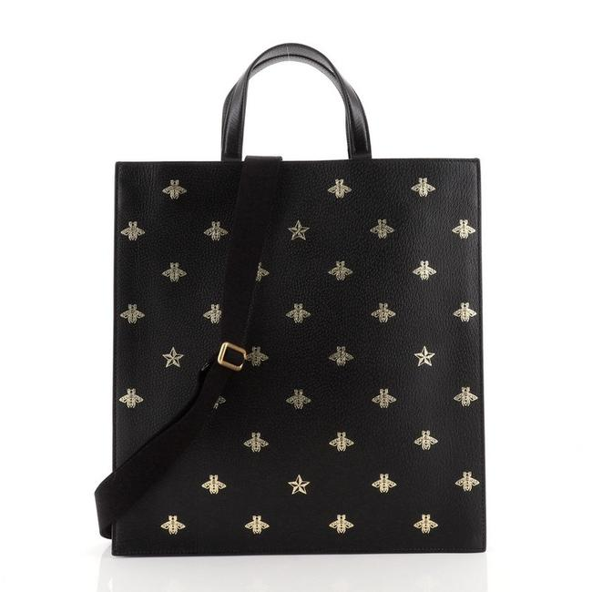 Item - Open Convertible Soft Printed Tall Black Gold Leather Tote