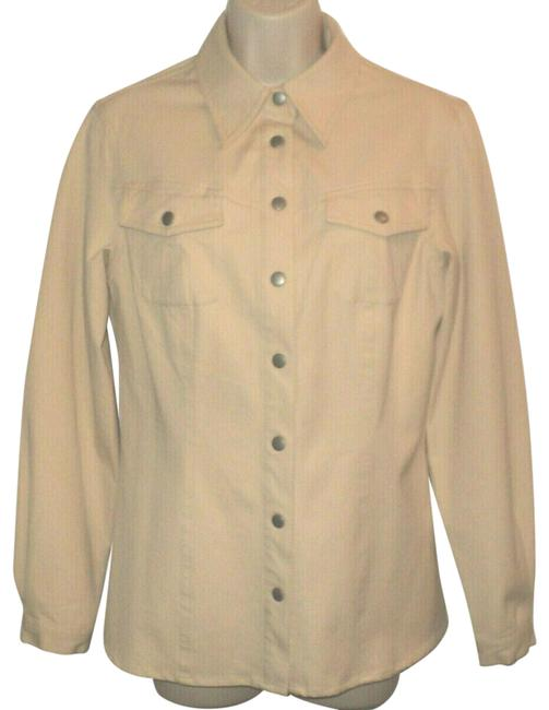 Item - Beige Snapped Closure Straight Collar No Lining Lightweight Jacket Size 6 (S)