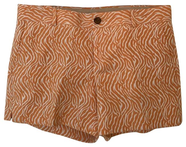 Item - Orange and Cream Textured Zebra Print with A Light Sheen. Heritage Shorts Size 10 (M, 31)