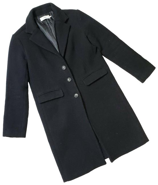 Item - Black 3 Button Wool Blend Classic Collared Coat Size 6 (S)