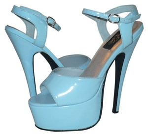 Ellie Shoes Stiletto Faux Patent Exotic Dance Ankle Strap Baby Blue Platforms