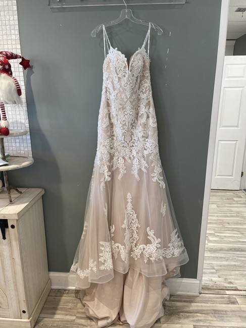 Item - Ivory Over Blush Lace Glorietta Formal Wedding Dress Size 6 (S)