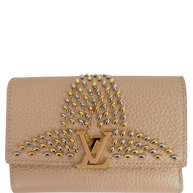 Item - Peach Capucines Studded Compact Leather Wallet