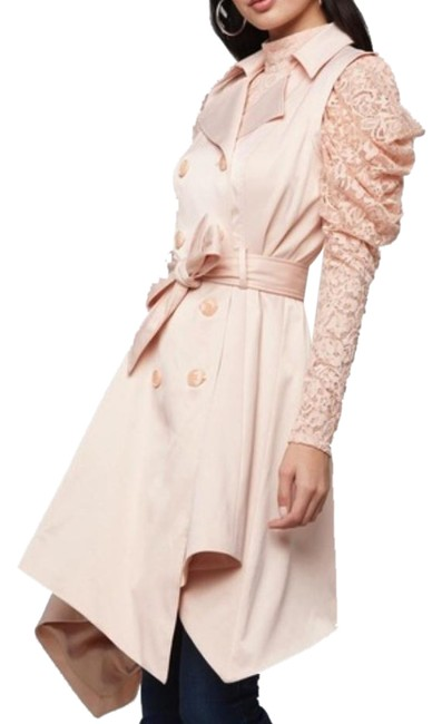 Item - Pink Jacket Hi Lo Belted Double Breasted Beige S Coat Size 4 (S)