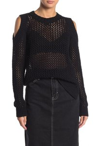 Item - Arzana Cold Shoulder Open Knit Black Sweater