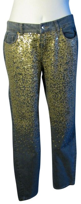 Item - Blue Platinum 0 Small S Gold Sequin Detail Denim Stretch Straight Leg Jeans Size 27 (4, S)