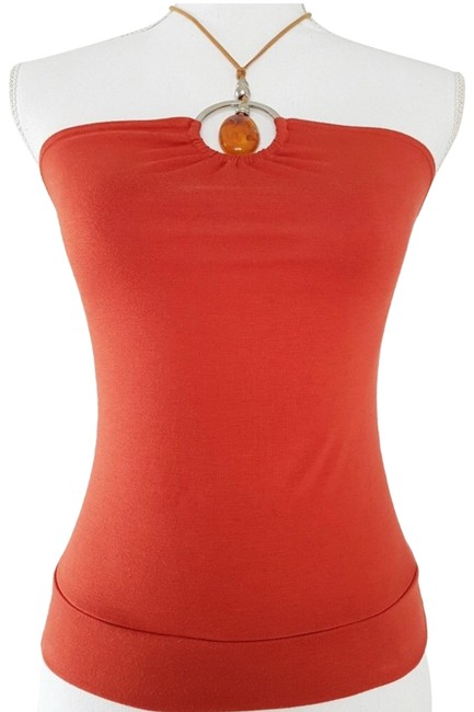 Item - Orange L Nwot Ny Wooden Ring Halter Top Size 12 (L)