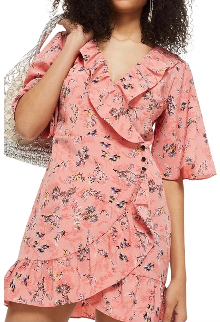 Item - Pink Multi Sleeve Ruffle Floral Print Mini Wrap Short Casual Dress Size 8 (M)